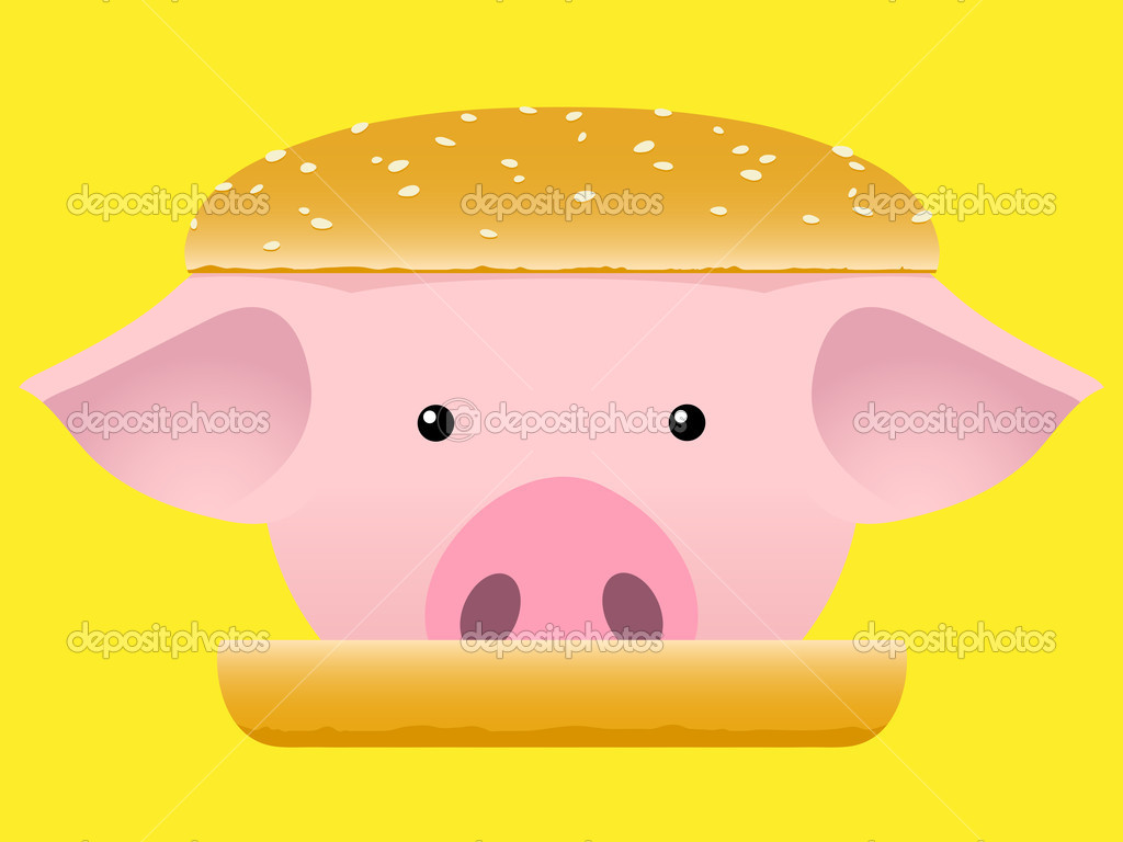 Porc head hamburger fast food — Stock Vector #6512454