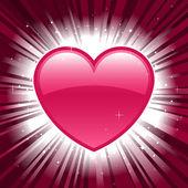 Блестящий розовый Валентина сердца на фоне звезды всплеск — Cтоковый вектор