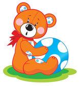 Bear with blue ball — Stock Vector