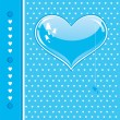Royalty-Free Stock Vector Image: Vector card with a blue heart and cats silhouette