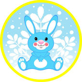 Vector blue rabbit on a round card — Stock Vector