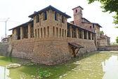 Pagazzano (Bergamo, Lombardy, Italy). medieval castle surrounded — Stock Photo