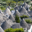 Alberobello (Bari, Puglia, Italy): Panoramic view of the trulli - Stock Photo