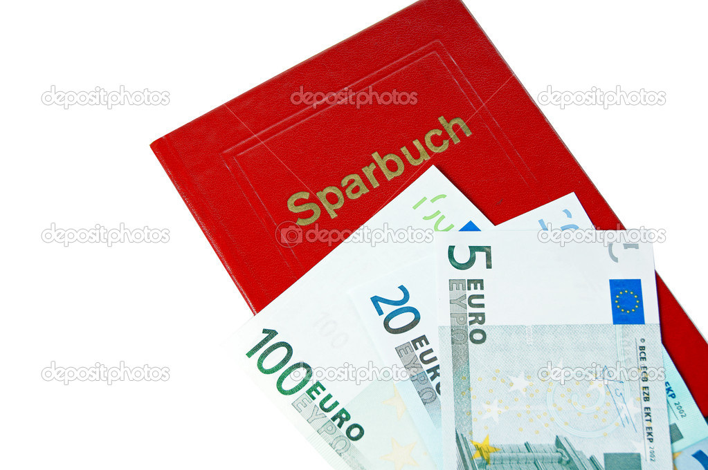 Sparbuch und Euroscheine auf weiem Hintergrund  Stock Photo #6191163