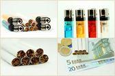 Zigaretten und Feuerzeug — Stock Photo