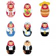 matryoshka russian doll icon set — Stock Vector