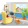 Stock Vector: Mworking with PC at home