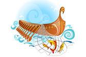 Bote de remos de madera antiguo — Vector de stock
