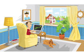 Man working with PC at home — Vector de stock
