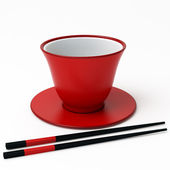 Chopsticks and cup — Stock Photo