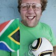 Geeky SA Soccer Fan — Stock Photo