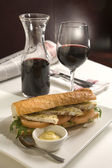 French Beaguette in bistro — Stock Photo