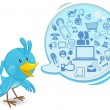 Social networking media bluebird with a speech bubble — Imagens vectoriais em stock