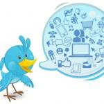 soziale Netzwerk-Medien-Bluebird mit Sprechblase — Stockvektor