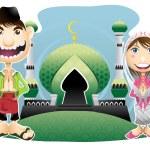 Moslem Islam Eid Mubarak Celebration Day — Stock Vector