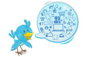 Social networking media bluebird with a speech bubble — Stock Vector