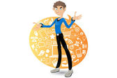 Social Networking Boy Browsing Sites — Stock Vector