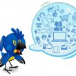Social Networking Media Bluebird Macaw With A Speech Bubble — Vector de stock