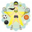 Sporty Girl — Stock Vector