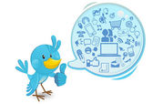 Social Networking Media Bluebird With A Speech Bubble Thumbs Up — Stock Vector