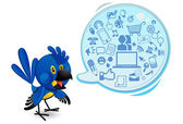 Social Networking Media Bluebird Macaw With A Speech Bubble — Stock Vector