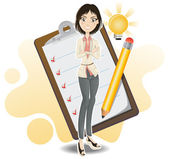 Smart Business Woman Done With Her Checklist — Stock Vector