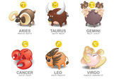 Piggy Bank of Zodiac icon set: Aries, Taurus, Gemini, Cancer, Leo, Virgo — ストックベクタ