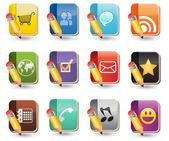 Social Media Of Book Icon Set — Stock Vector