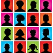 Stock Vector: 16 anonymous colorful avatars, vector