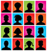 16 anonymous colorful avatars, vector — Stock Vector