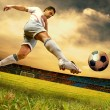 Stok fotoğraf: Happiness football player on field of olimpic stadium on sunrise