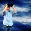 Young boy watch in the field-glass, outdoors. — Stock Photo