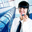 Hapiness Businesswoman standing on the business background — Stock Photo #6351970