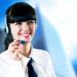 Hapiness Businesswoman standing on the business background — Stock Photo #6351974