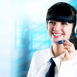 Hapiness Businesswoman standing on the business background — Stock Photo #6351976