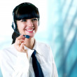 Hapiness Businesswoman standing on the business background — Stock Photo #6351977