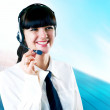Stock Photo: Hapiness Businesswoman standing on the business background