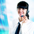 Hapiness Businesswoman standing on the business background — Foto de Stock
