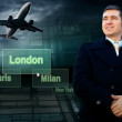 Businessman and airports citys on the button and plane — Stock Photo