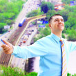 Hapiness Businessman standing on the business background — Stock Photo #6352048