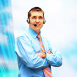 Happiness businessman in headphoness on the business architectur — Stock fotografie