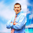 Happiness businessman in headphoness on the business architectur — Stock Photo