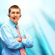Happiness businessman in headphoness on the business architectur - Stock Photo