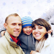 Happy family portrait outdoors smiling. Winter — Stock Photo