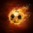 Hot soccer ball on the speed in fires flame — Foto de Stock