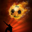 Hot soccer ball on the speed in fires flame — Stock Photo #6352223