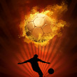 Hot soccer ball on the speed in fires flame — Stock Photo #6352244