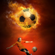 Hot soccer ball on the speed in fires flame — Stock Photo #6352246