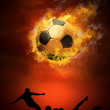 Hot soccer ball on the speed in fires flame — Stock Photo #6352247