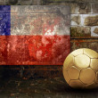 Grunge flag on the wall and ball — Stock Photo #6352469